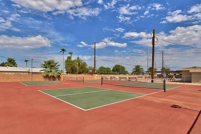 The outdoor tennis courts at Dreamland Villa in Mesa, Arizona