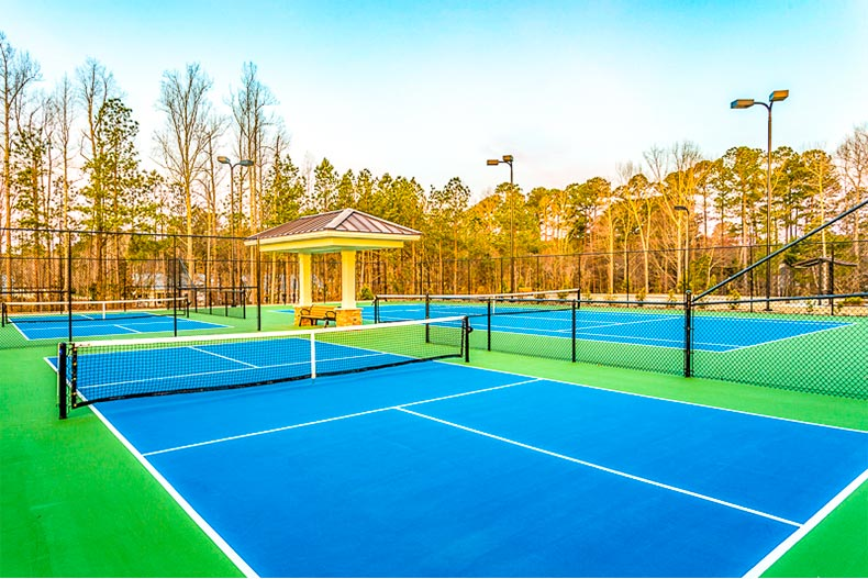 Pickleball courts in Del Webb at Traditions