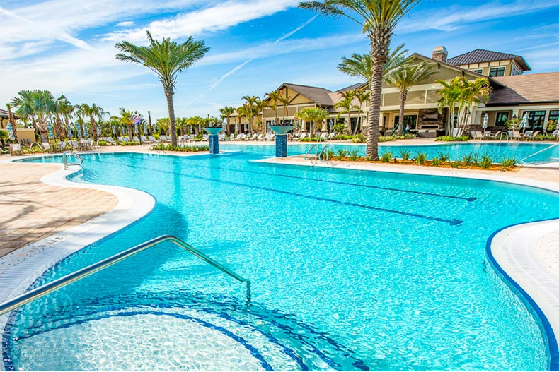 Resort-style pool and clubhouse in Del Webb Lakewood Ranch