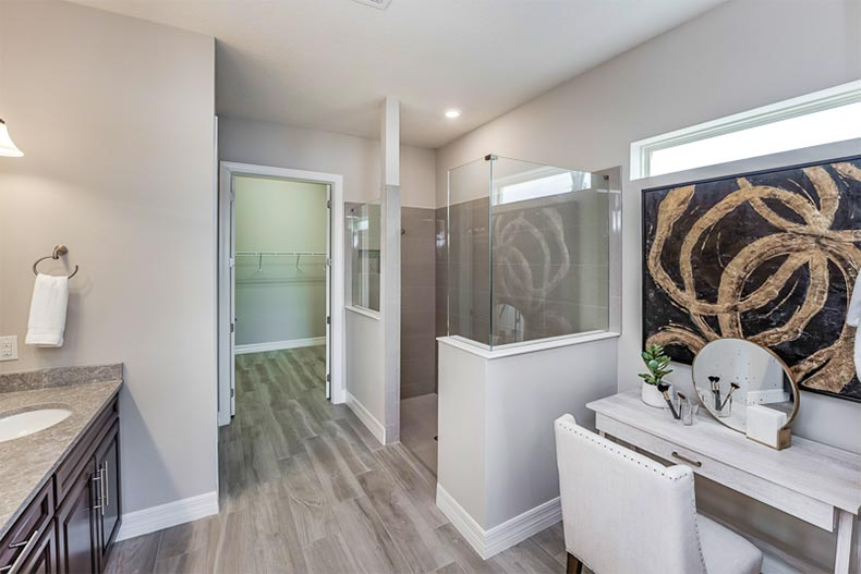 Luxuty master bathroom with vanity, zero-entry shower and walk-in closet