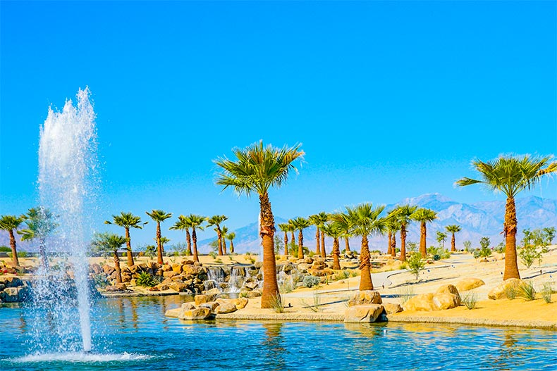 A fountain in a pond surrounded by rocks and palm trees in Del Webb Rancho Mirage