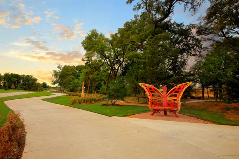 Walkway in Trinity Falls master-planned community in Texas