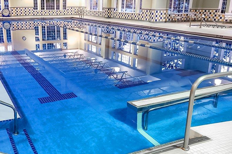 View of the indoor pool and spa at Edgewater in Elgin, Illinois