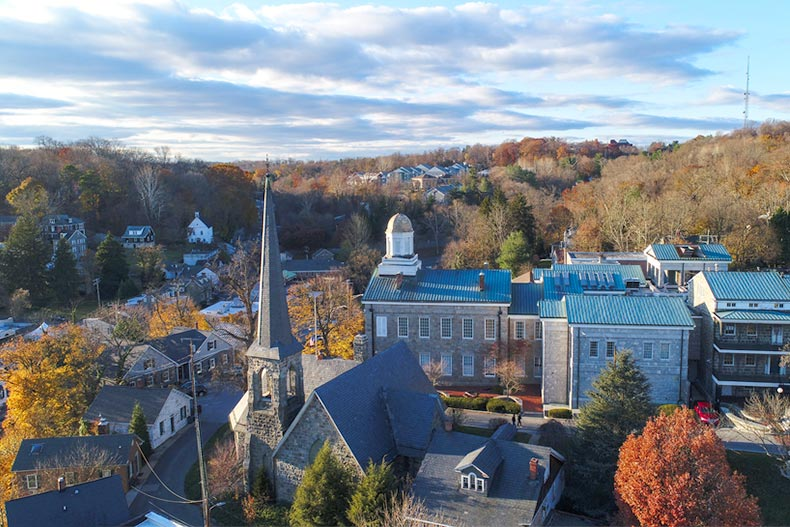 An aerial view of Ellicott City, Maryland in the fall