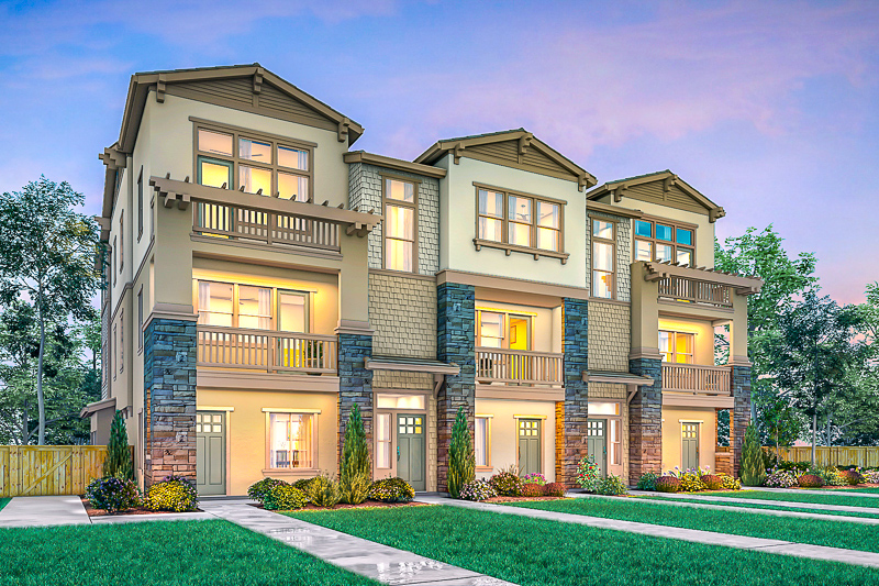 Rendering of attached homes at Enclave at Mission Falls in Fremont, California