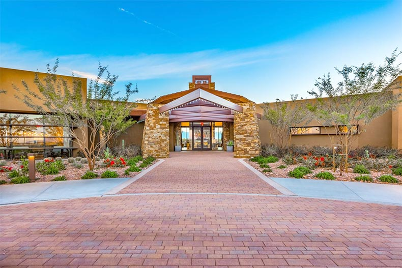Exterior view of the clubhouse entrance at Encore at Eastmark in Mesa, Arizona