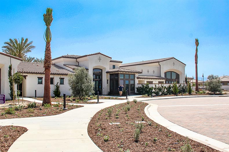 Exterior view of the clubhouse at Esperanza in Ontario, California