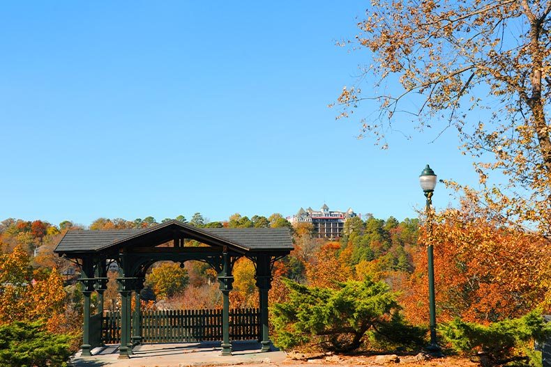 Photo of the East Mountain Overlook in Eureka Springs, Arkansas with the Crescent Hotel in the background