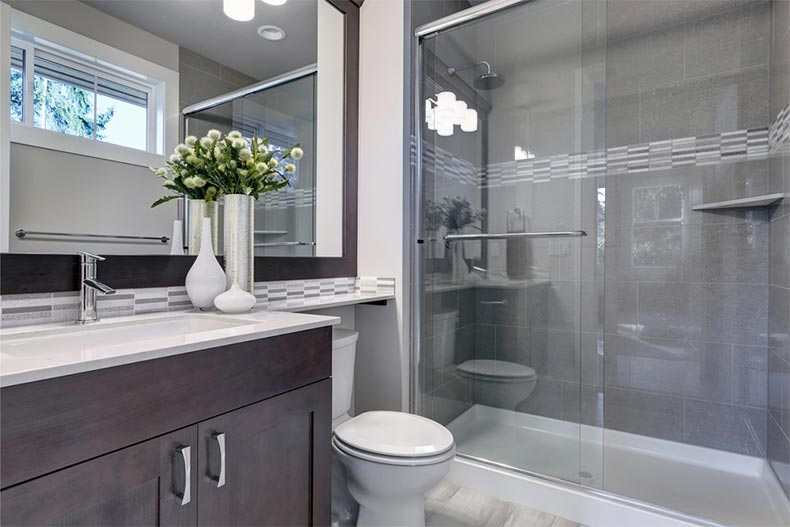 A modern bathroom in a new home