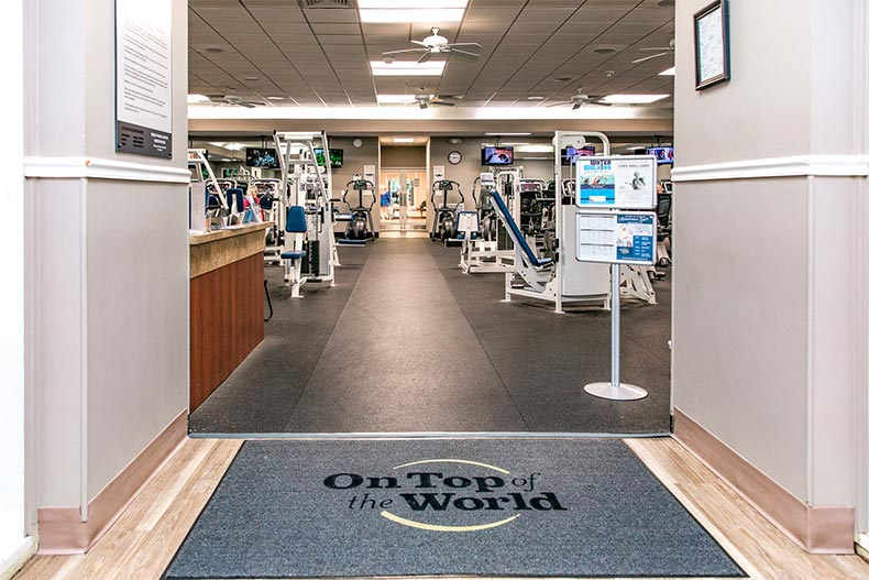 Interior view of a fitness center at On Top of the World in Ocala, Florida