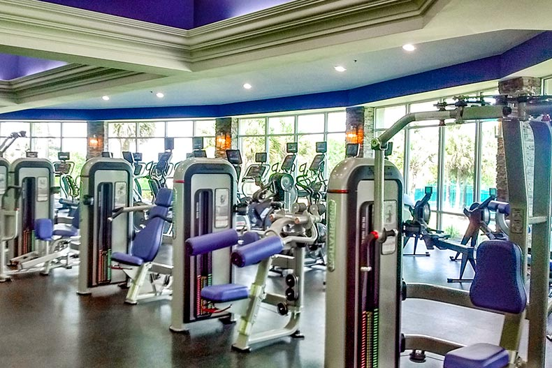 Interior view of the fitness center at On Top of the World in Ocala, Florida