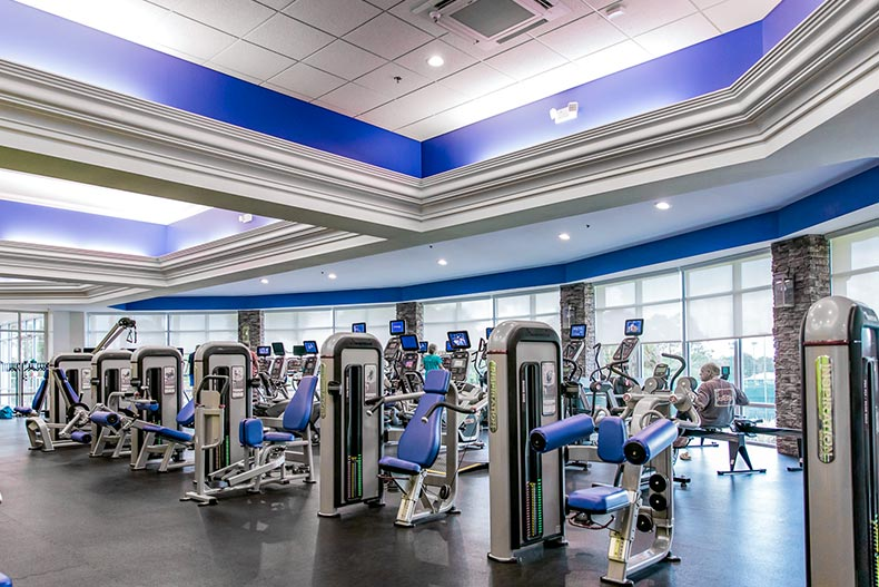 Interior view of the state-of-the-art fitness center at On Top of the World in Ocala, Florida
