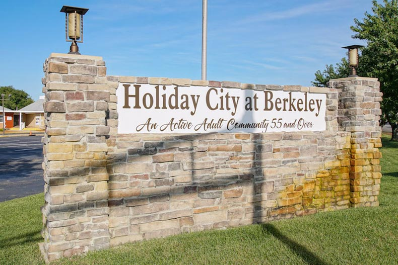 The brick community sign for Holiday City at Berkeley in Toms River, New Jersey