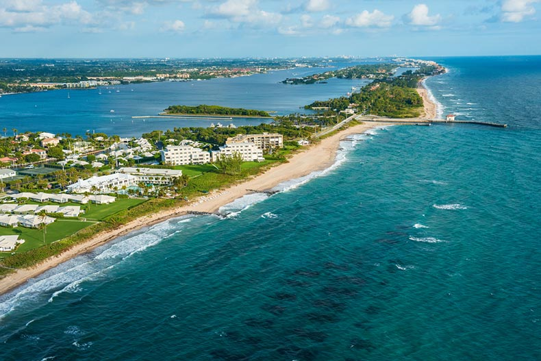 Aerial view of the Atlantic Ocean shoreline in Boynton Beach, Florida with Palm Beach in the distance