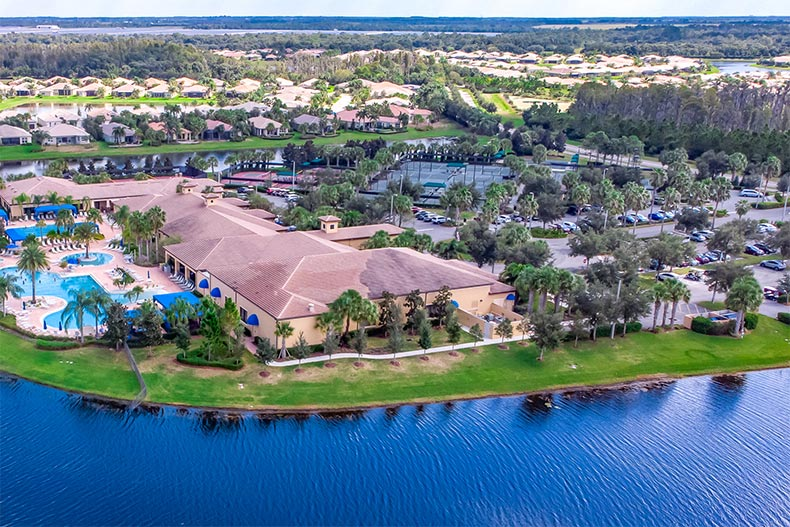 Aerial view from the water of Valencia Lakes in Wimauma, Florida