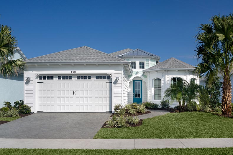 Exterior view of a model home at Latitude Margaritaville in Daytona Beach, Florida