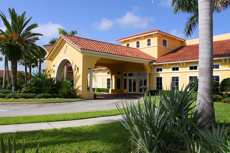 Exterior view of the clubhouse at Woodfield in Vero Beach, Florida