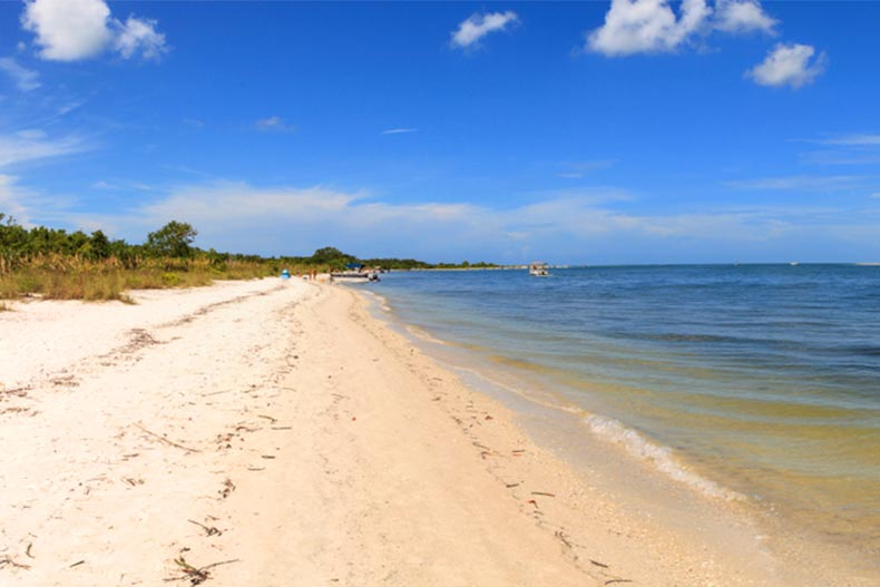View of a white sand beach at Lovers Key State Park in Bonita Springs, Florida