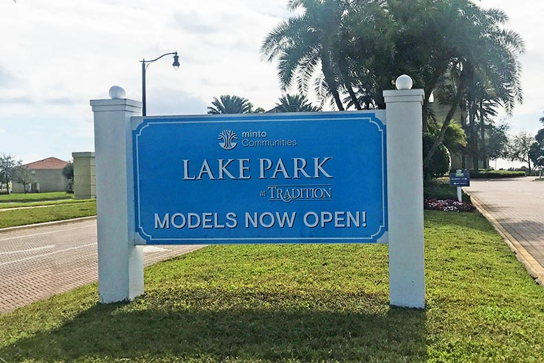 View of the community sign at LakePark at Tradition in Port St Lucie, Florida