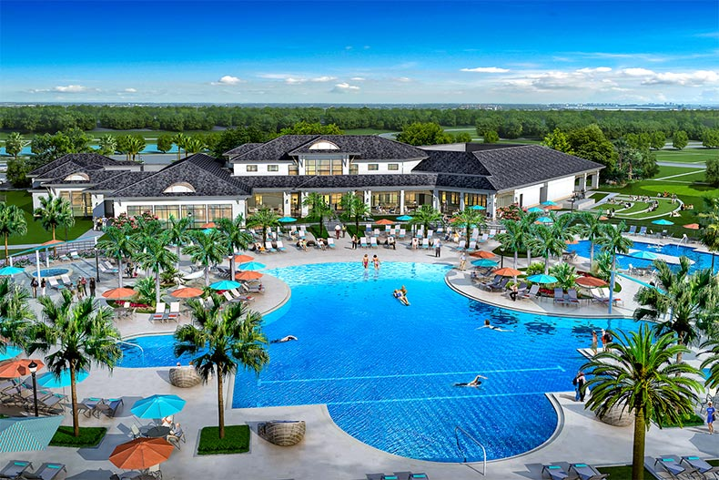 Rendering of an aerial view of the outdoor pool, patio, and clubhouse at Del Webb Sunbridge in St. Cloud, Florida