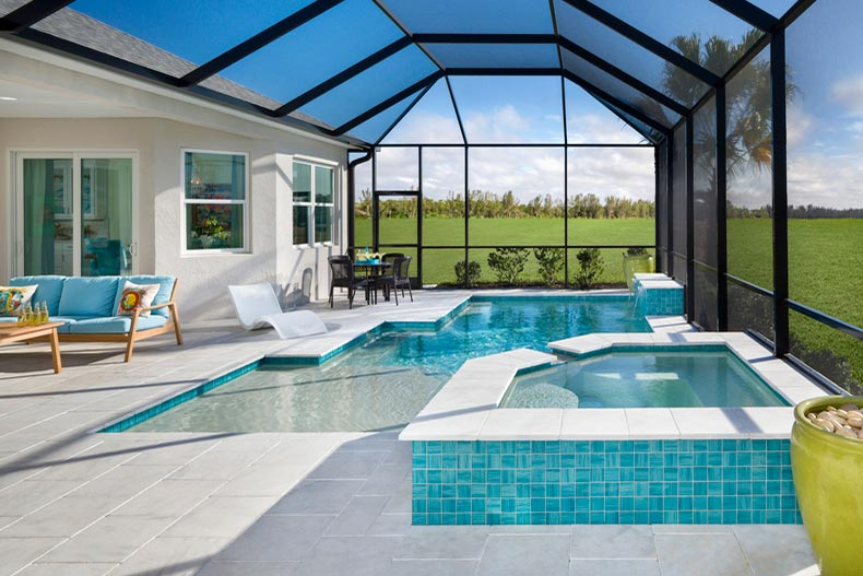 View of the indoor pool in the Aruba home model at Latitude Margaritaville in Daytona Beach, Florida