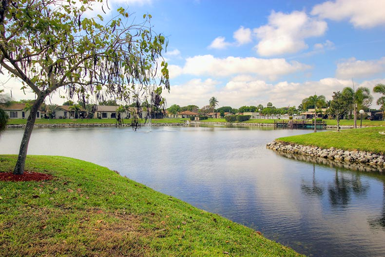 Homes surrounding a scenic lake at The Meadows of Crystal Lake in Deerfield Beach, Florida