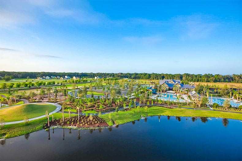 Aerial view over the water of WaterSong at RiverTown in St. Johns, Florida