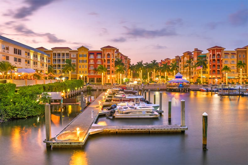 View of the city and the docks at dusk in Naples, Florida