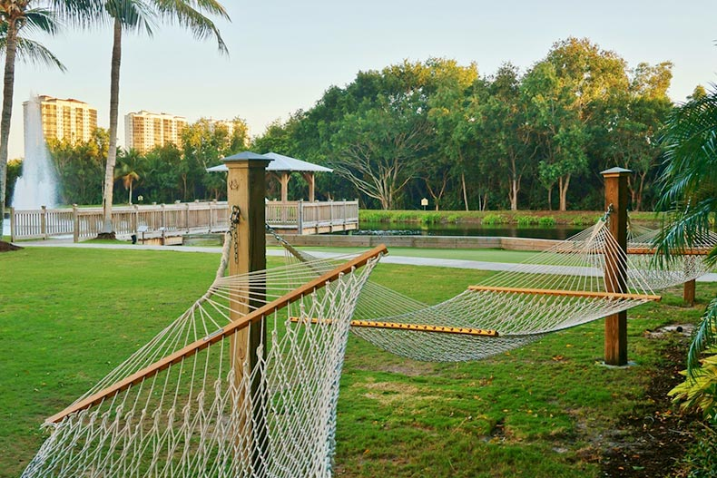 Hammocks and greenspace outside the Hyatt Regency Coconut Point Resort and Spa on Estero Bay in Bonita Springs, Florida