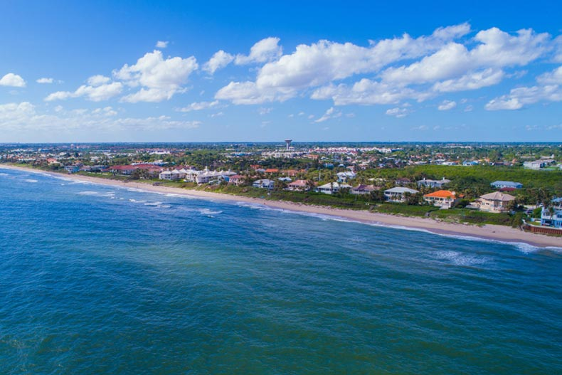 Aerial view of houses along the shore of Boynton Beach, Florida