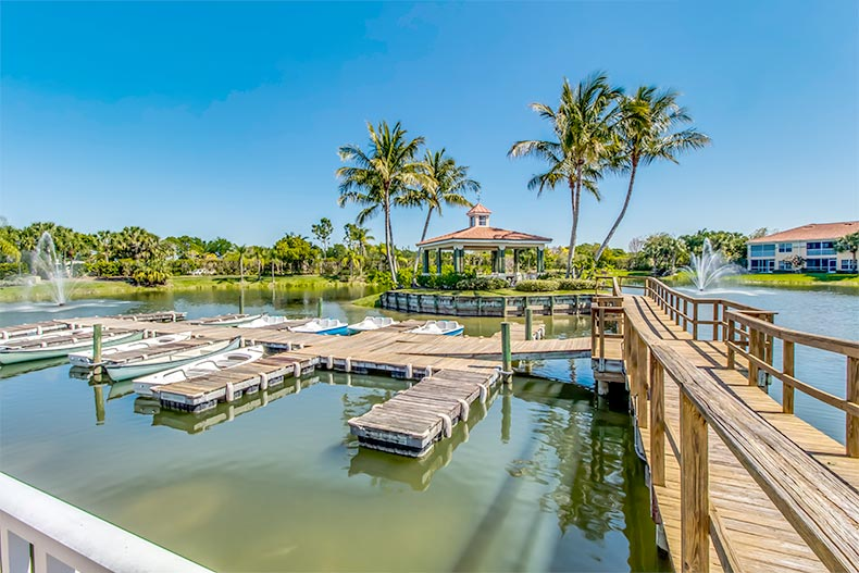 View of the boat docks on the lake at Lighthouse Bay in Bonita Springs, Florida