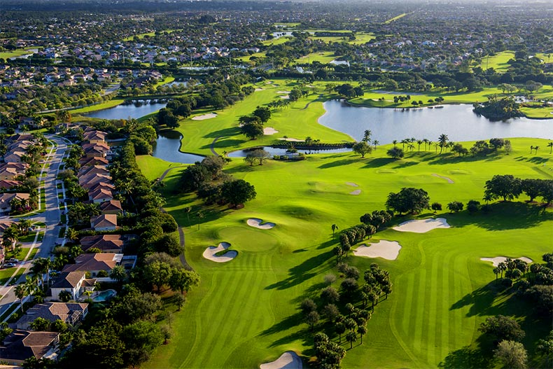 Aerial view of a golf community in Palm Beach County, Florida