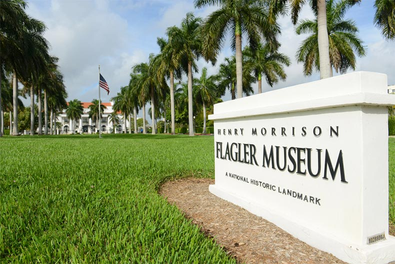 View of the main entrance to the Henry Morrison Flagler Museum in Palm Beach, Florida