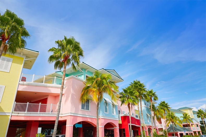 Palm trees beside colorful buildings in Fort Myers, Florida