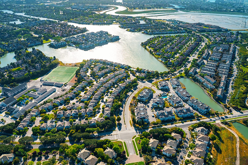Aerial view of residential neighborhoods in Foster City, CA