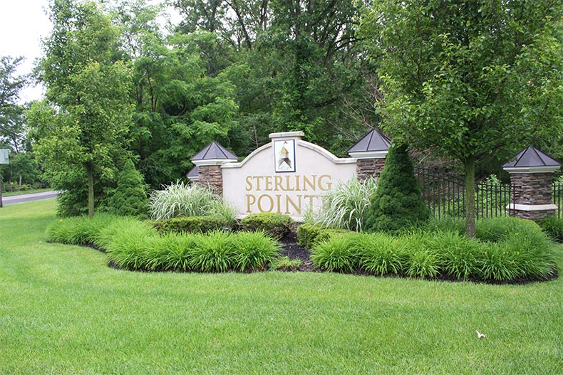 The community sign at  Four Seasons at Sterling Pointe in Franklin Township, New Jersey
