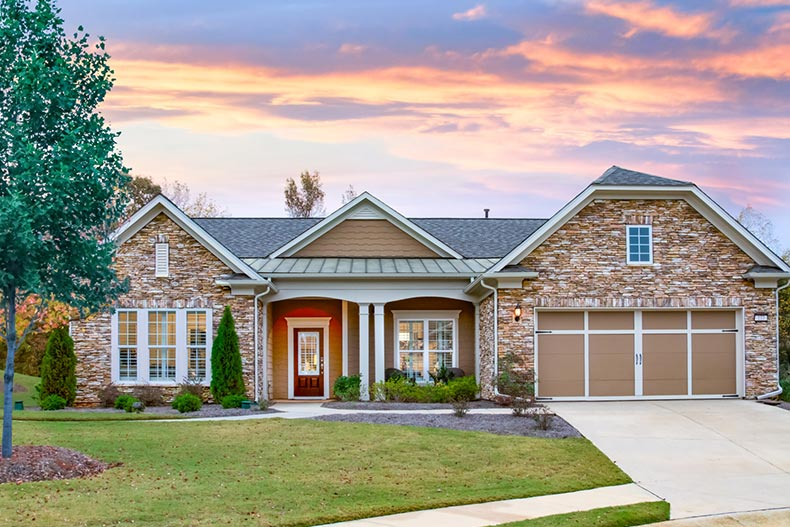Exterior view of a model home at Sun City Peachtree in Griffin, Georgia