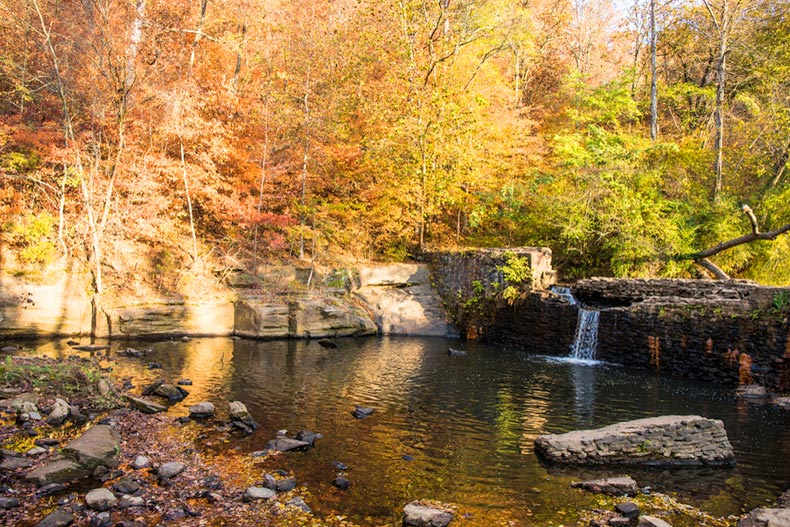 Autumn view of Tribble Mill Falls in Lawrenceville, Georgia