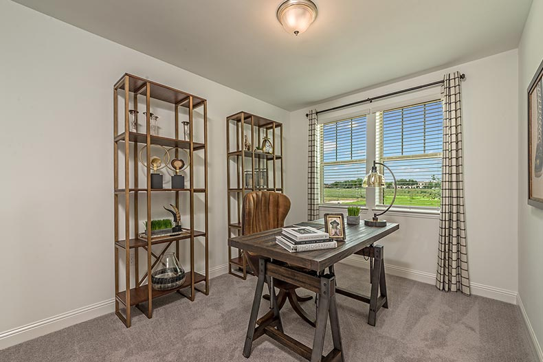 An office in a model home at Gatherings at Mercer Crossing in Farmers Branch, Texas