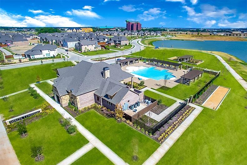 Aerial view of the amenities in Gatherings at Mercer Crossing in Farmers Branch, Texas