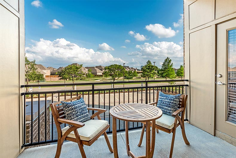 The outdoor patio in a model home at Gatherings at Twin Creeks in Allen, Texas