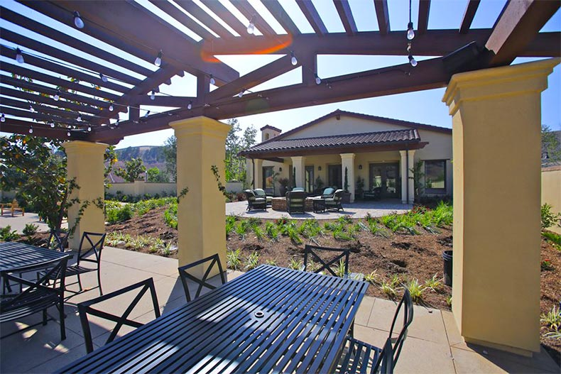 Patio tables and chairs at Gavilan in Rancho Mission Viejo, California