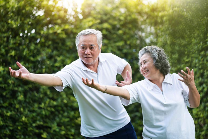 A senior couple practicing tai chi in a park together