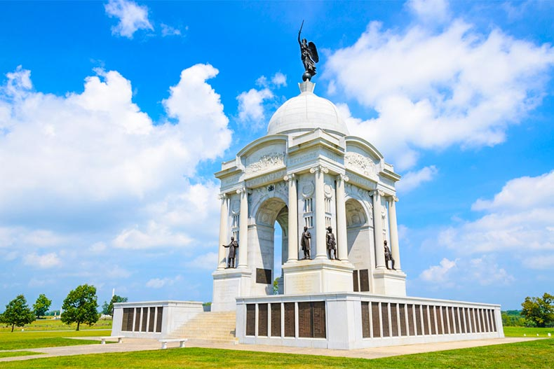 Monument in Gettysburg National Military Park on a clear day