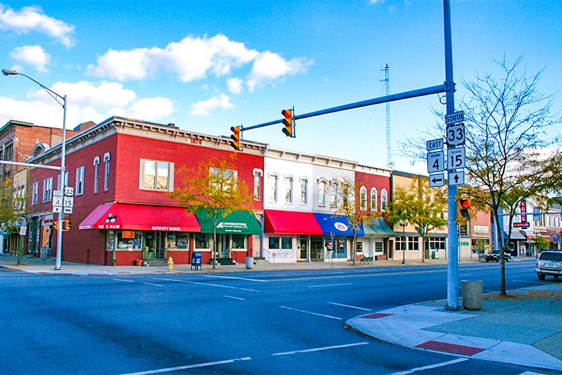 Downtown Goshen, Indiana with blue skies