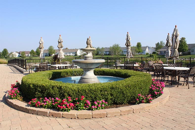 A fountain on the outdoor patio at Grand Haven in Romeoville, Illinois