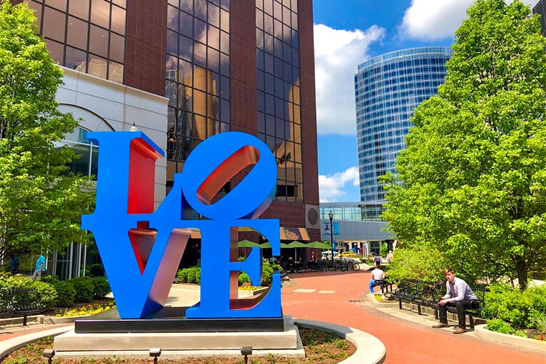 Love sign in leafy downtown Grand Rapids