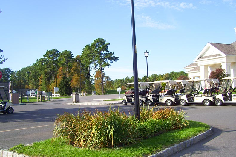 Golf carts lined up on the street in Greenbriar Oceanaire in Waretown, New Jersey