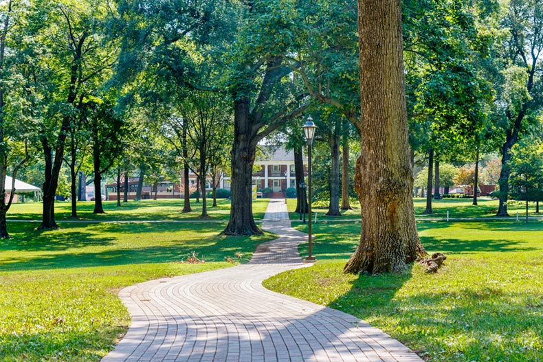 Hege-Cox Hall and Academic Quad at Guilford College in Greensboro, North Carolina
