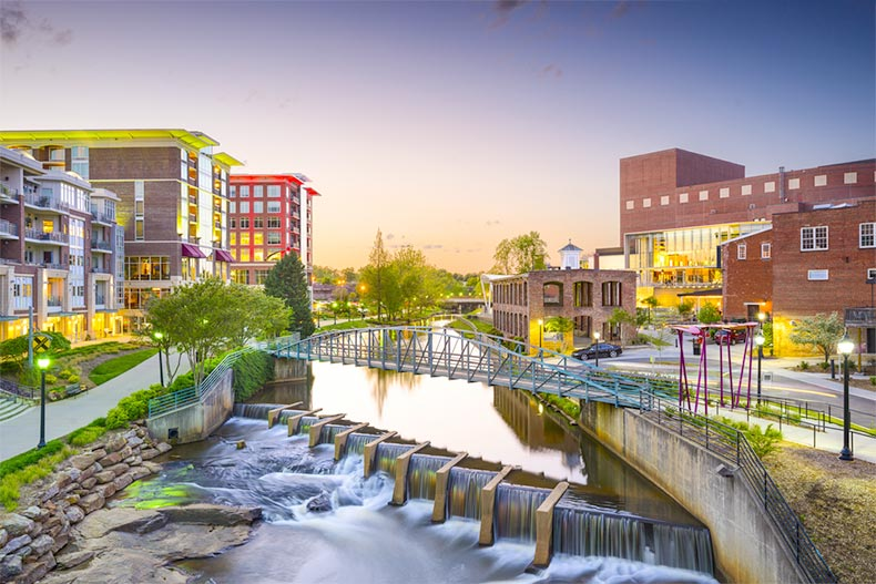 View of the downtown cityscape in Greenville, South Carolina at dusk